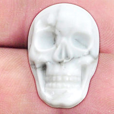 Natural 16.30cts howlite white carving 22.5x15 mm skull loose gemstone s9986