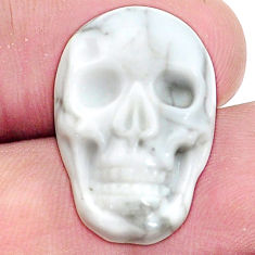 Natural 18.45cts howlite white carving 22.5x15 mm skull loose gemstone s9987