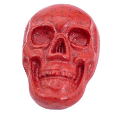 Natural 7.35cts jasper red carving 18x12 mm fancy skull loose gemstone s10021
