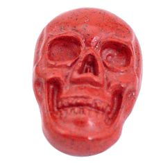 Natural 7.40cts jasper red carving 18x12 mm fancy skull loose gemstone s10022