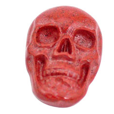 Natural 7.35cts jasper red carving 18x12 mm fancy skull loose gemstone s10023