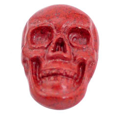 Natural 8.15cts jasper red carving 18x12 mm fancy skull loose gemstone s10024