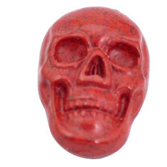 Natural 7.35cts jasper red carving 18x12 mm fancy skull loose gemstone s10025