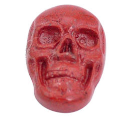 Natural 8.45cts jasper red carving 18x12 mm fancy skull loose gemstone s10026