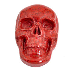 Natural 16.30cts jasper red carving 23.5x16 mm skull face loose gemstone s13243