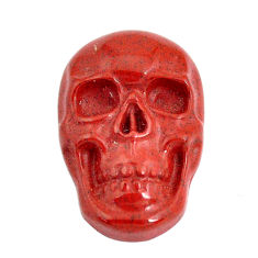 Natural 15.10cts jasper red carving 24x15 mm skull face loose gemstone s13241