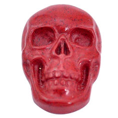 Natural 16.30cts jasper red carving 24x16 mm fancy skull loose gemstone s10001