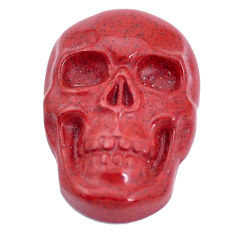 Natural 16.30cts jasper red carving 24x16 mm fancy skull loose gemstone s10002