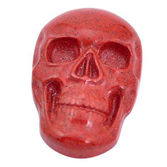 Natural 16.30cts jasper red carving 24x16 mm fancy skull loose gemstone s10004