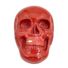 Natural 16.35cts jasper red carving 24x16 mm skull face loose gemstone s13242