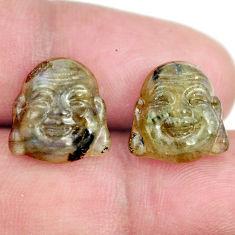 Natural 10.15cts labradorite 12.5x12 mm buddha face pair loose gemstone s13379