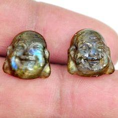 Natural 11.20cts labradorite 13.5x12 mm buddha face pair loose gemstone s13378