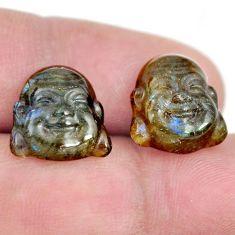 Natural 10.15cts labradorite 13.5x12.5 mm buddha face pair loose gemstone s13376
