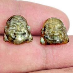 Natural 11.30cts labradorite 13.5x13 mm buddha face pair loose gemstone s13377