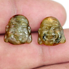 Natural 11.30cts labradorite 13x12 mm buddha face pair loose gemstone s13380