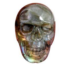 Natural 12.40cts labradorite blue carving 22.5x15 mm skull loose gemstone s10000