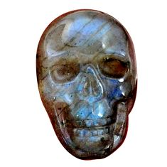 Natural 11.30cts labradorite blue carving 22.5x15 mm skull loose gemstone s9996