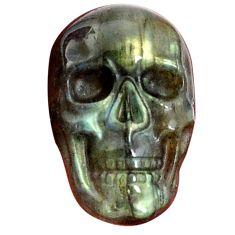 Natural 11.45cts labradorite blue carving 22.5x15 mm skull loose gemstone s9999