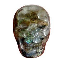 Natural 14.45cts labradorite blue carving 22x15.5 mm skull loose gemstone s9998