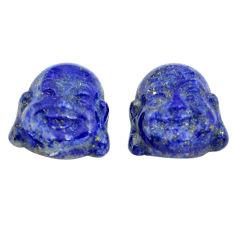 Natural 12.35cts lapis lazuli 13.5x12 mm buddha face pair loose gemstone s13368