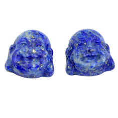 Natural 11.30cts lapis lazuli 13.5x12 mm buddha face pair loose gemstone s13369