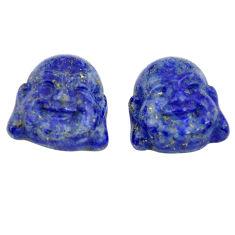 Natural 13.45cts lapis lazuli 13.5x12.5mm buddha face pair loose gemstone s13370