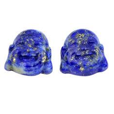 Natural 13.45cts lapis lazuli 13x12.5 mm buddha face pair loose gemstone s13367