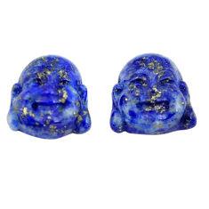 Natural 12.40cts lapis lazuli 13x13 mm buddha face pair loose gemstone s13366