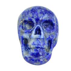 Natural 7.40cts lapis lazuli blue 17.5x12 mm skull face loose gemstone s13325