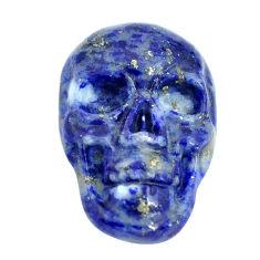 Natural 6.30cts lapis lazuli blue 17.5x12 mm skull face loose gemstone s13326