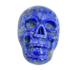 Natural 8.45cts lapis lazuli blue 17.5x12 mm skull face loose gemstone s13327