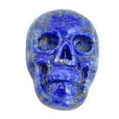 Natural 8.45cts lapis lazuli blue 17.5x12 mm skull face loose gemstone s13328
