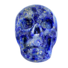 Natural 7.35cts lapis lazuli blue 17x12 mm skull face loose gemstone s13322