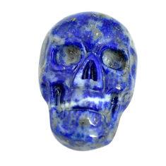 Natural 7.40cts lapis lazuli blue 18x12 mm skull face loose gemstone s13321