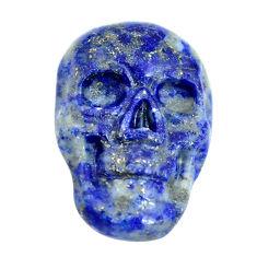 Natural 7.35cts lapis lazuli blue 18x12 mm skull face loose gemstone s13324