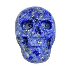 Natural 8.35cts lapis lazuli blue 18x12 mm skull face loose gemstone s13329