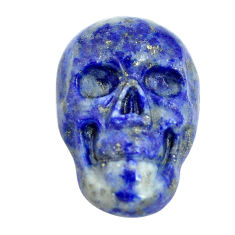 Natural 9.35cts lapis lazuli blue 18x12 mm skull face loose gemstone s13330
