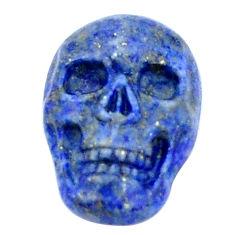 Natural 16.30cts lapis lazuli blue carving 22.5x15 mm skull loose gemstone s9981