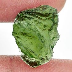 Natural 7.35cts moldavite green rough 16x12 mm fancy loose gemstone s13665