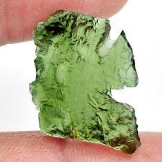 Natural 12.40cts moldavite green rough 21x17 mm fancy loose gemstone s13661