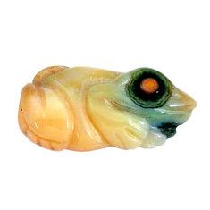 Natural 17.35cts ocean sea jasper carving 26x13 mm frog loose gemstone s10148