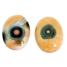 Natural 17.15cts ocean sea jasper pair 18x13mm oval loose gemstone s10275