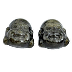 Natural 12.35cts onyx black 13.5x12.5 mm buddha face pair loose gemstone s13392