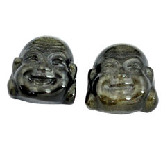 Natural 11.40cts onyx black 13.5x12.5 mm buddha face pair loose gemstone s13394
