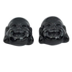 Natural 12.35cts onyx black 13.5x13 mm buddha face pair loose gemstone s13372