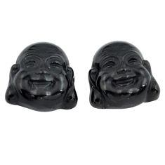 Natural 12.35cts onyx black 13.5x13 mm buddha face pair loose gemstone s13375