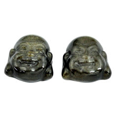 Natural 12.35cts onyx black 13.5x13 mm buddha face pair loose gemstone s13393