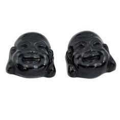 Natural 11.30cts onyx black 13x13 mm buddha face pair loose gemstone s13371