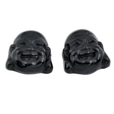 Natural 12.35cts onyx black 13x13 mm buddha face pair loose gemstone s13373