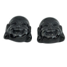 Natural 12.40cts onyx black 14x12.5 mm buddha face pair loose gemstone s13374